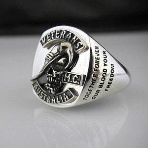 Veterans Australia MC Oxidized Emblem Ring