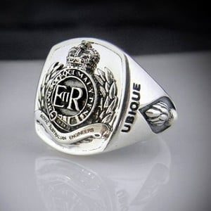 Royal Australian Army Engineers Bespoke Oxidized Emblem Ring