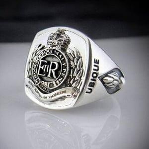 Royal Australian Army Engineers Bespoke Oxidized Emblem Ring