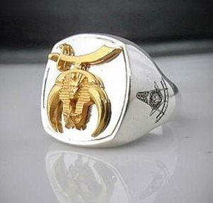 Shriner Bespoke Masonic Ring Gold Plated Emblem