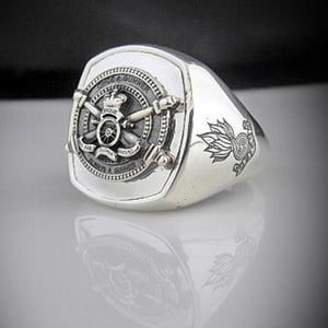 Once a Gunner Always a Gunner Bespoke Silver Oxidized Ring