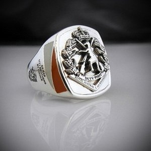8/9 RAR Bespoke Oxidized Silver Emblem Ring