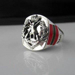 Royal Australian Regiment Bespoke Oxidized Silver Emblem ring