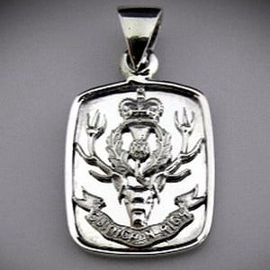 Queens own Highlanders Bespoke Sterling Silver Pendant Dog Tag