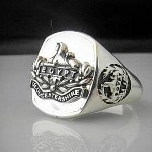 Gloucestershire Regiment Oxidized Silver Emblem Bespoke Ring