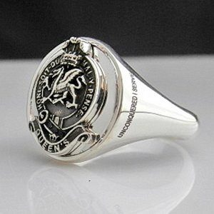 Queens Regiment Oxidized Silver Bespoke Ring