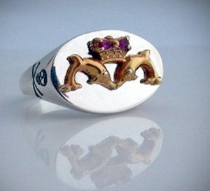Submariners Dolphin Ring Gold Plated Emblem